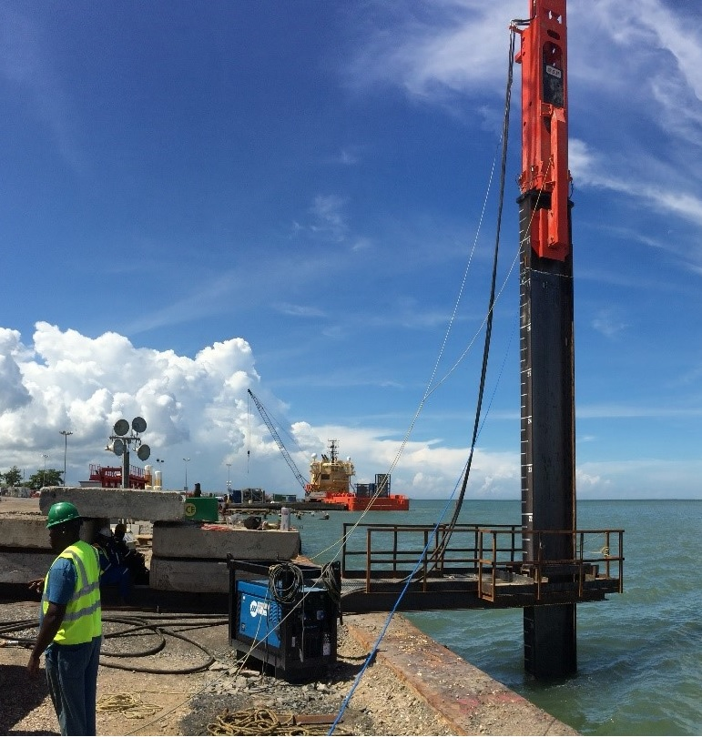 Pile driving in Trinidad